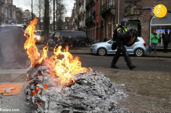 (تصاویر) اعتراضات خشونت آمیز علیه محدودیت هایی کرونایی در هلند